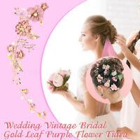Vintage Gold Leaf Purple Flower Tiara Wedding Bridal Headpiece Party Headband