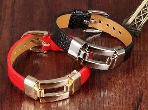 Leder Designer Armband in Schwarz oder Rot , Edelstahl, Geschenk , Neu