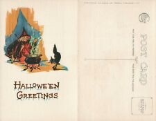 ANTIQUE HALLOWEEN POSTCARD - BLACK CAT & COOKING WITCH by GIBSON ART CO.
