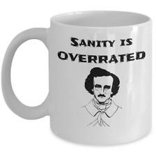Book themed mug - Sanity is overrated - Edgar Allan Poe The Raven horror fiction