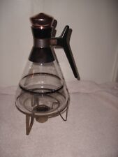 Vintage Large Coffee/Tea Pot Warmer ~Rose Copper Cork Lid~Glass Carafe ~48 Oz.