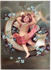 """*Vintage ANGEL ALPHABET LETTER """"G"""" Floral FOIL POSTCARD Clapsaddle FORGET-ME-NOT"""
