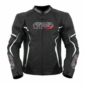 ARMR MOTO RAIDEN LEATHER BLACK WHITE MOTORCYCLE SPORTS JACKET SIZES 40 48