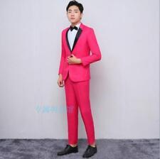 Men Formal Suits Thin Fit Blazers Show Wedding Costume Coat Pants Set Shiny New