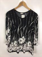 ATELIER GS Damen Shirt, Größe 22, schwarz-weiß, glitzer, schick, Neu