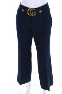 Gucci Womens Pleated Logo Wide Leg Pants Blue Size IT 40