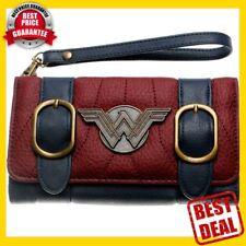 HOT NEW DC Comics Wonder Woman Double Buckle Tri Fold Flap Wallet Card Holder