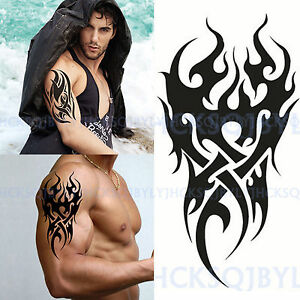 Men's Sexy Temporary Tattoo Waterproof Totem Body Arm Leg Art Stickers Removable