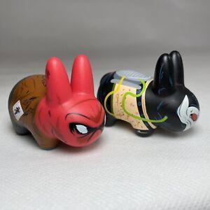 "Kozik Kidrobot DC Universe 2.5"" Mini Labbit Bane & Red Hood Vinyl Figures Pair"