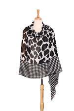 Extra Wide Pashmina Wrap Shawl Scarf Black and White Leopard Print PSH512