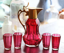 Antique gold ruby cut glass cordial set, 4 tiny glasses,  early 20th c. [11591]