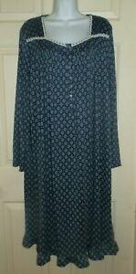 New Womens 2X 18W-20W Blue Floral Nightgown Secret Treasures Long Sleeve Soft