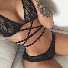 Women's Lace Floral Bralette Bralet Bra Set Bustier Crop Top Unpadded Underwear