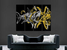 SHARK BATTLE OCTOPUS POSTER TRIPPY ABSTRACT WALL ART LARGE HUGE GIANT PRINT