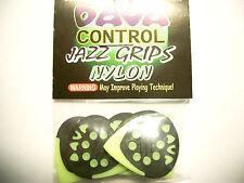 """6 Dava Control """"Jazz Grips"""" Nylon Picks Plektren gelb Hang Bag"""