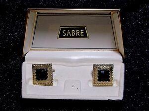 VTG Sabre by Swank Gold-Tone Square Black Faceted Gem Cufflinks Original Box