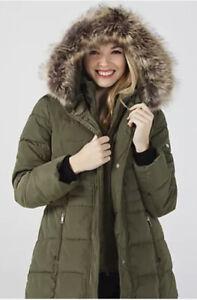 Centigrade Faux Down Coat with Fooler & Faux Fur Trim Hood XL NEW Khaki