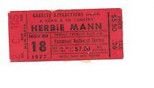 Vintage Herbie Mann Ticket Stub Paramount Northwest Theatre 11/18/1977 Seattle