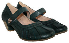 LADIES HEELED SHOE TOUCH CLOSE STRAP LEATHER LINING OLIVE GREEN SIZES 4 - 7