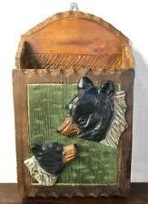 Rustic Hand carved Painted Hanging Small Cabinet w Shelves w Black Bear & Cub