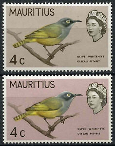 Mauritius 1965 SG#319a 4c Bird Mauve Pink Background Colour Omitted Error#D22211