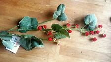 Artificial Fruit Raspberry & foliage stem.15 berries on 83cm long stem lifelike