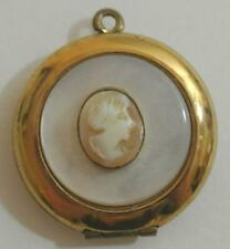 Antique Vintage Yellow Gold Filled Shell CAMEO Necklace LOCKET Atlantic City NJ