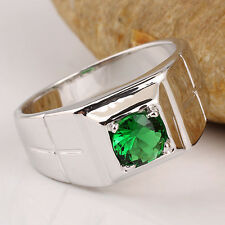 Men 925 Solid Sterling Silver Ring Emerald Green CZ Cross Size 12 Jewelry