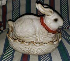 New ListingVintage Glazed Pottery Ceramic Stoneware Bunny Rabbit Covered Dish Red Ribbon