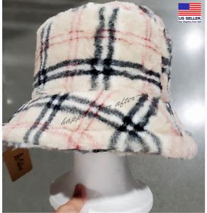 Bucket Hat, Soft Fur Checker Print Bucket Hat, Fluffy Bucket Hat *US SELLER*