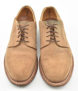 OAK STREET BOOTMAKERS 10D TAN SUEDE PLAIN TOE BLUCHER DRESS SHOES