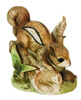 """Vintage Ceramic Squirrel with Turtle 5"""" tall Figure Statue Porcelain"""