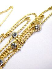 "14K  Gold CZ ""Daimonds""  By the Yard Tension Extendable Choker Length 10""-18"""