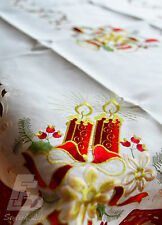 Large Red Trim Christmas Table Cloth Embroidered Candles, 150x225cm FFD022