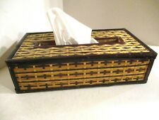 Vintage Asian Design / Style Tissue Box Cover, Hand Made, Wood & Basket Weave