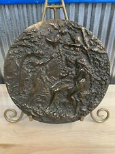 VINTAGE ADAM & EVE GARDEN OF EDEN & ANGEL  BRONZE Copper HANGING WALL PLAQUE