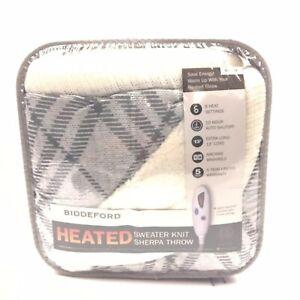 "Biddeford Heated Sweater Knit Sherpa Throw 50""x62"" NEW"
