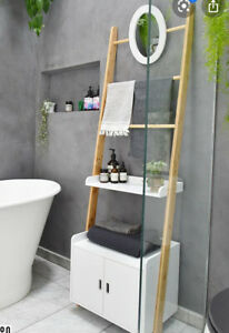 Leaning Shelves White Bamboo Bathroom Dresser - The Futon Company BNIB