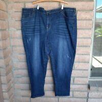 Venezia Denim Jeans Plus Size 28 Medium Blue Distressed Classic 5-Pocket Zip Fly