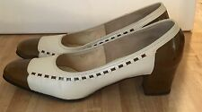 Vintage Women's Selby 'Impala Last' Cream & Brown Leather Woven Heels Pumps 8Aaa