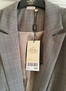 NEXT Ladies Suit jacket size Uk14 Petite smart formal jacket BNWT beige checks