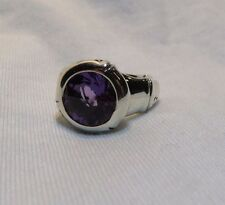 John Hardy 925 Sterling Silver Amethyst Round Bamboo Ring Sz 7 $395 Ret.