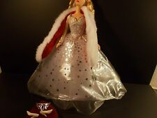 BARBIE SILVER & WHITE GOWN RED WRAP CROWN HIGH HEELS BEAUTIFUL B3528