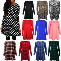 Ladies Women's Printed Plain Long Sleeve Swing Skater Dress Big Size Top Tunic