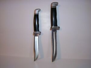 """Two Vintage """" Buck """" Bowie Style Hunting Knifes #'s 105 & 102. Used."""