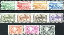 New Hebrides 1957 QEII set of mint stamps value to 5F  Lightly Hinged