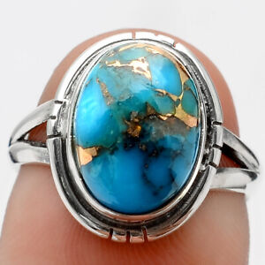 Copper Blue Turquoise Arizona 925 Sterling Silver Ring s.6.5 Jewelry 3143
