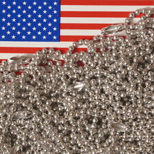 """Lot of 100 Aluminum 18"""" Ball Chain Necklaces, 2.4mm #3 Bead, MADE IN USA"""