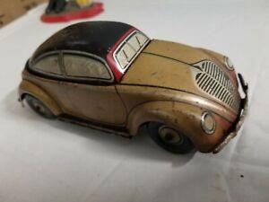 CKO Kellerman VW Beetle US Zone Germany Tin Litho Friction Car Wind Up Car W/Key