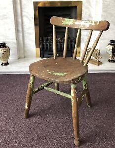 Vintage Childs Kids Wooden Chair Teddy Doll Desk Film TV Prop Nursery Play Room